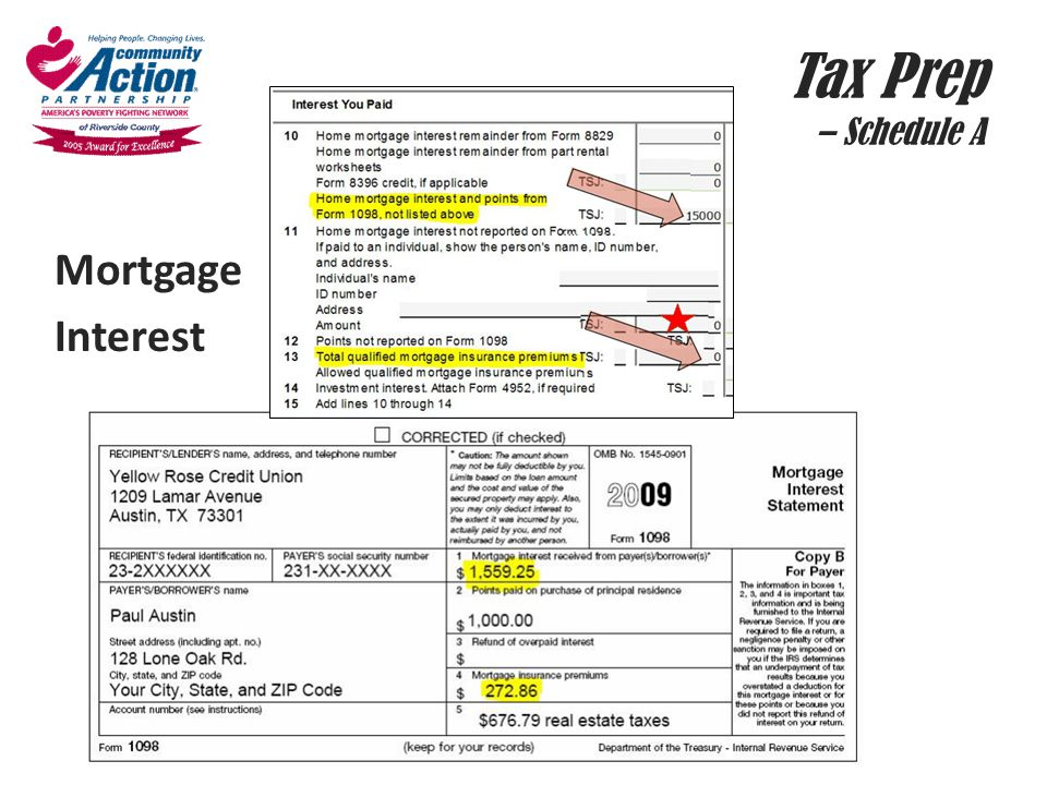 Tax Prep – Schedule A Mortgage Interest