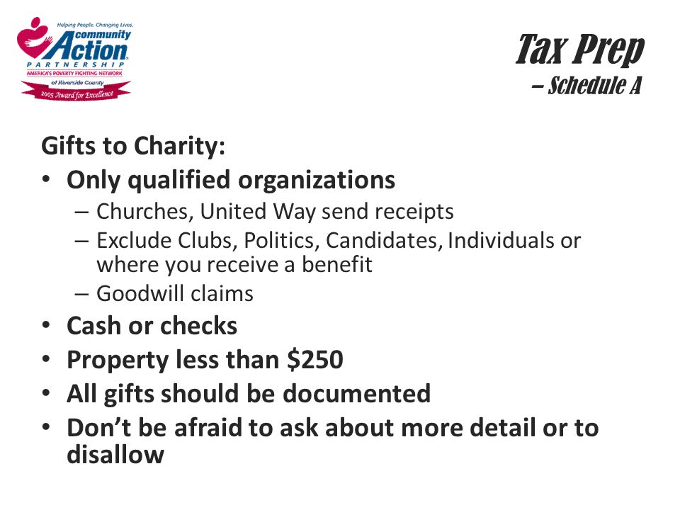 Tax Prep – Schedule A Gifts to Charity: Only qualified organizations