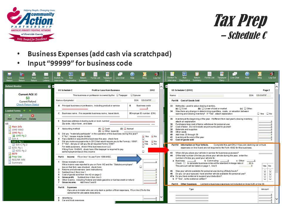 Tax Prep – Schedule C Business Expenses (add cash via scratchpad)
