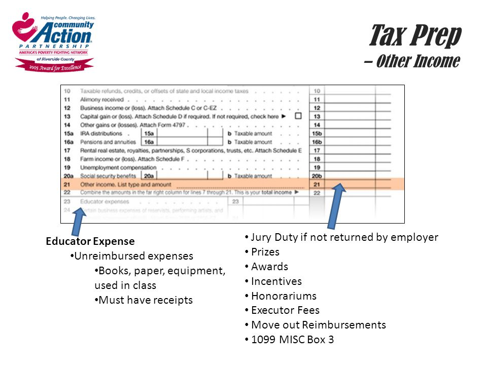 Tax Prep – Other Income Jury Duty if not returned by employer