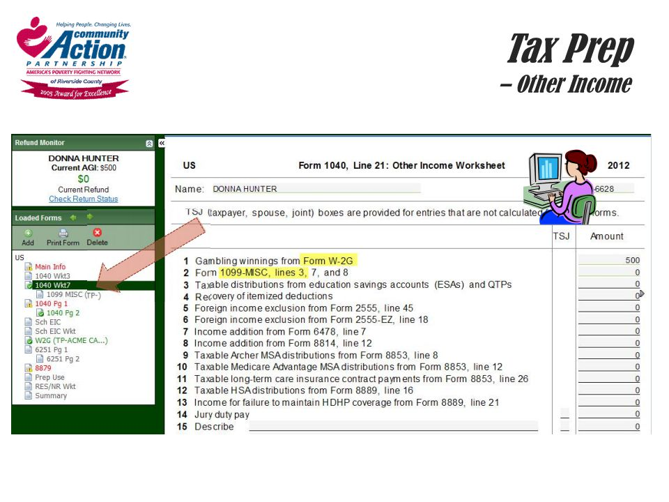 Tax Prep – Other Income Gross Receipts column, link to form. This is where you'll find your 1099 MISC.