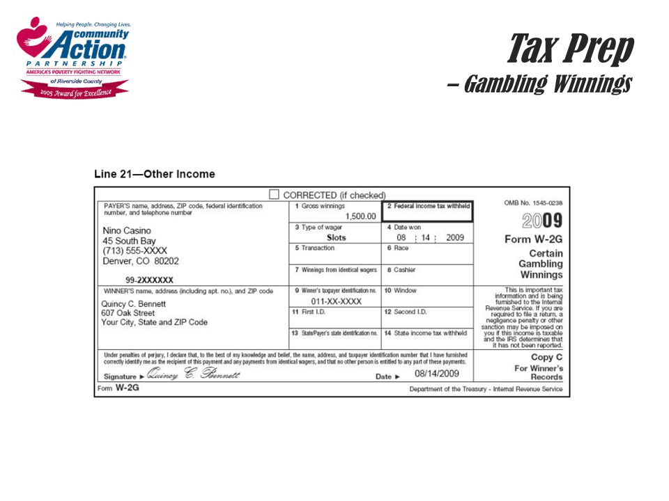 Tax Prep – Gambling Winnings