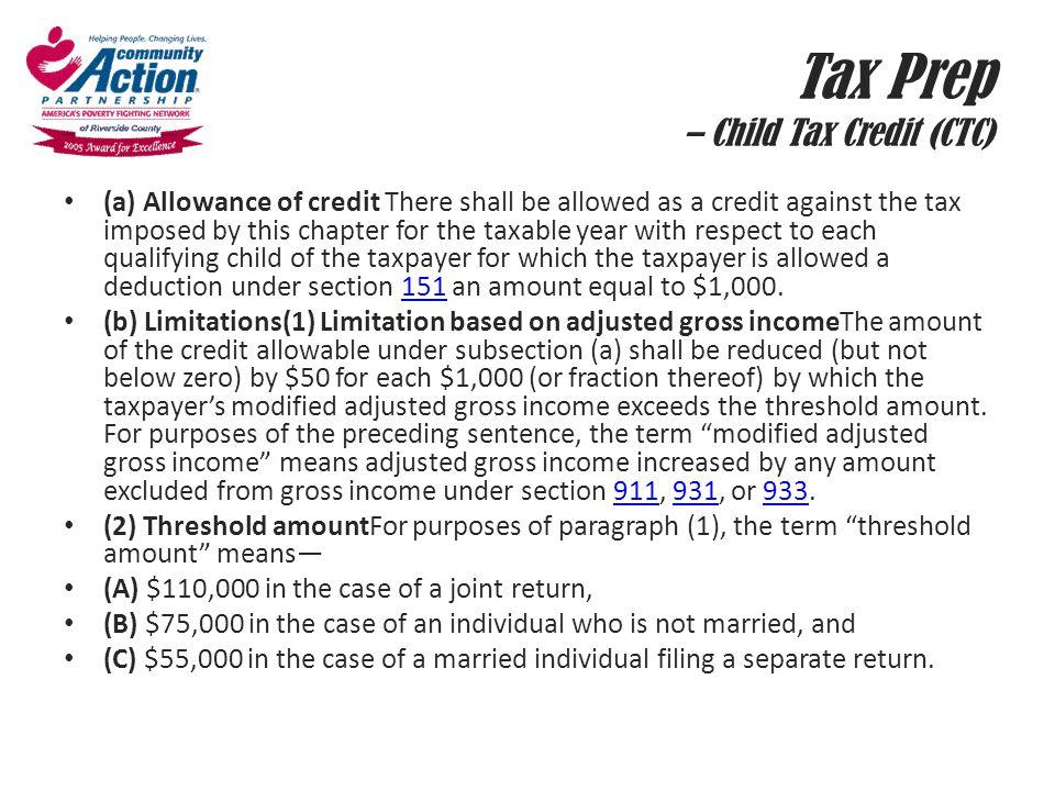 Tax Prep – Child Tax Credit (CTC)