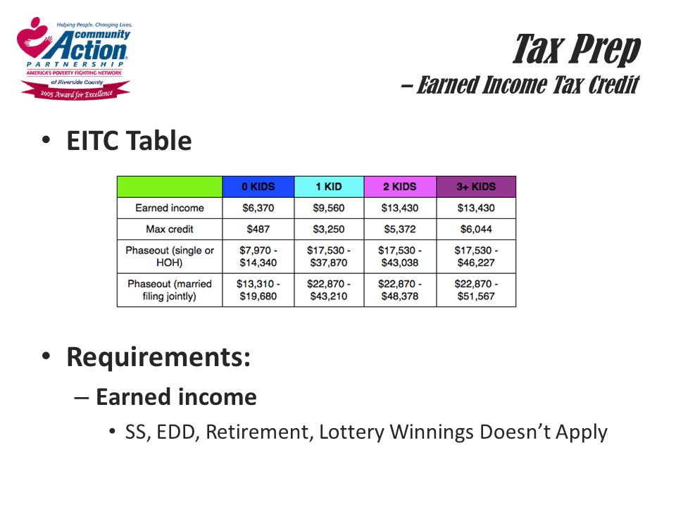 Tax Prep – Earned Income Tax Credit