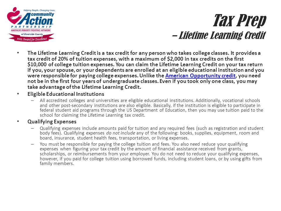 Tax Prep – Lifetime Learning Credit