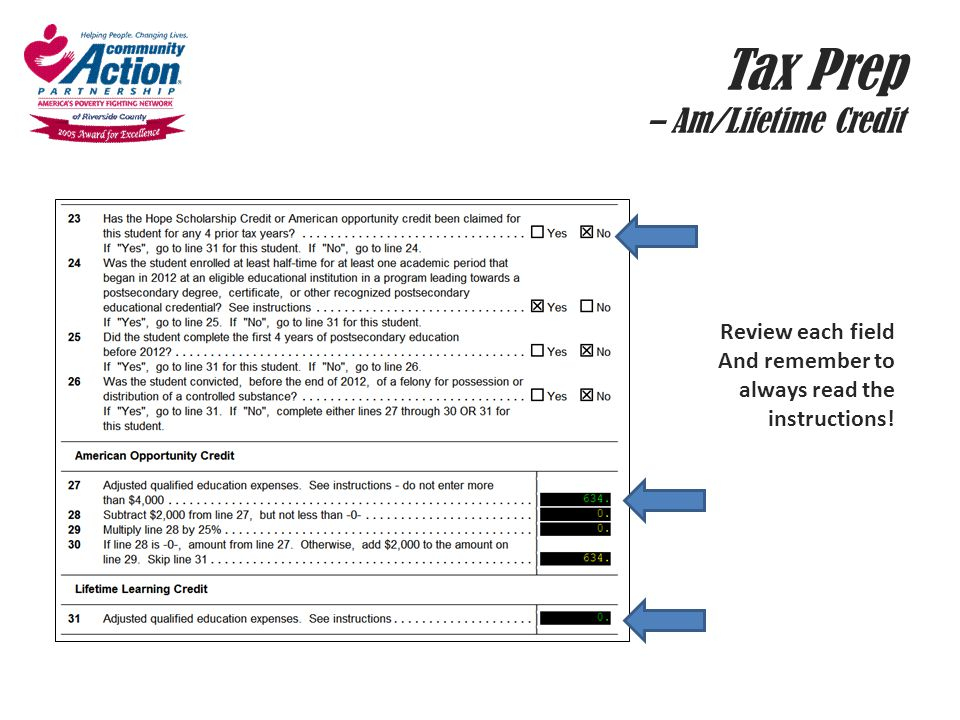 Tax Prep – Am/Lifetime Credit