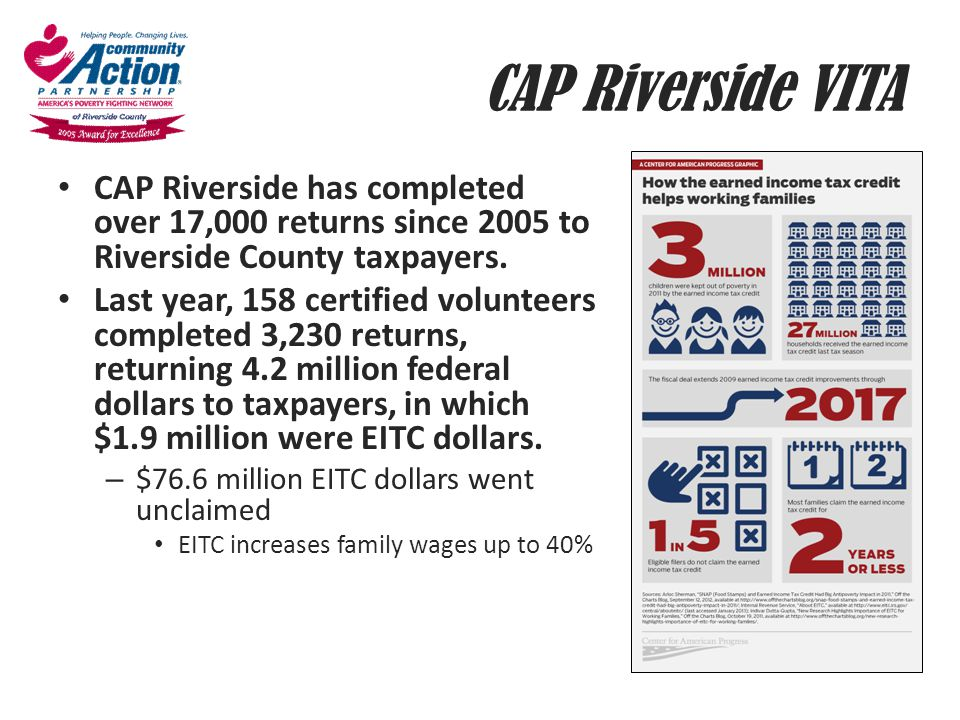 CAP Riverside VITA CAP Riverside has completed over 17,000 returns since 2005 to Riverside County taxpayers.