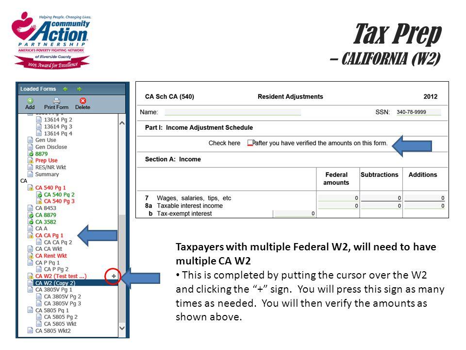 Tax Prep – CALIFORNIA (W2)