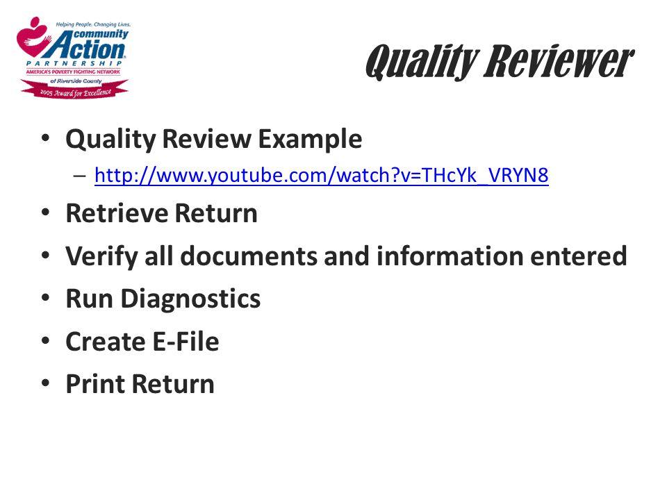 Quality Reviewer Quality Review Example Retrieve Return