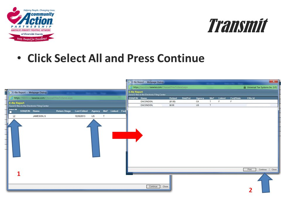 Transmit Click Select All and Press Continue 1 2
