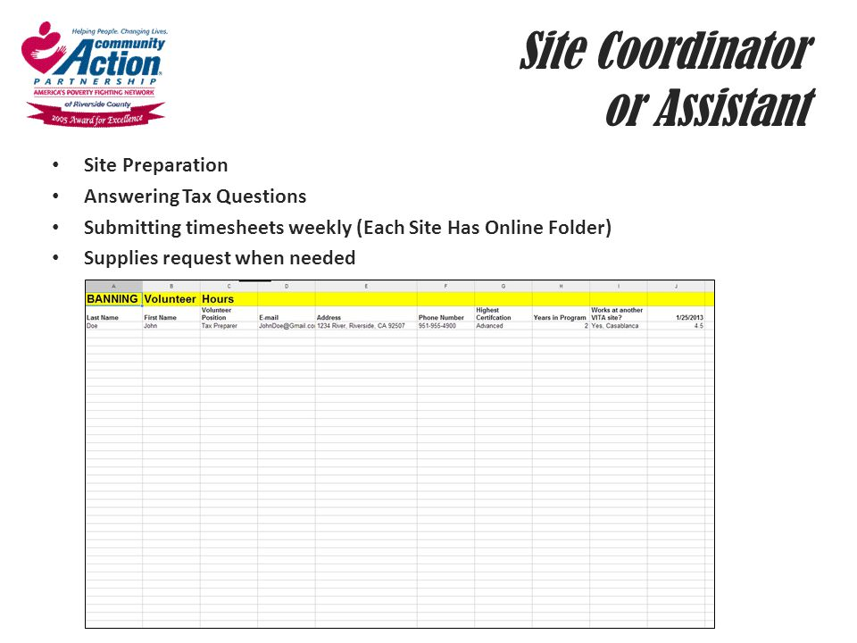 Site Coordinator or Assistant
