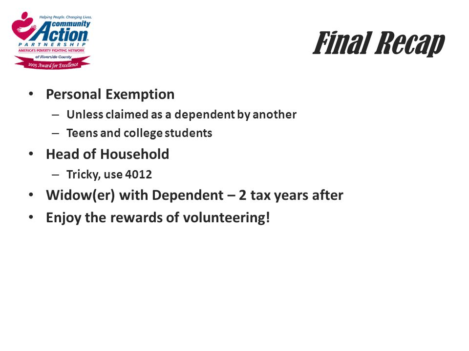 Final Recap Personal Exemption Head of Household