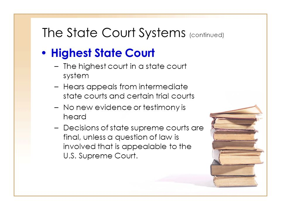 The State Court Systems (continued)