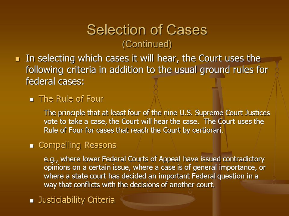 Selection of Cases (Continued)