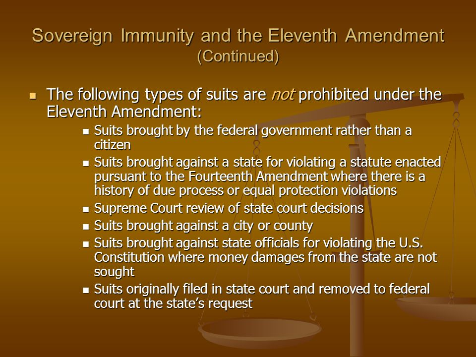 Sovereign Immunity and the Eleventh Amendment (Continued)