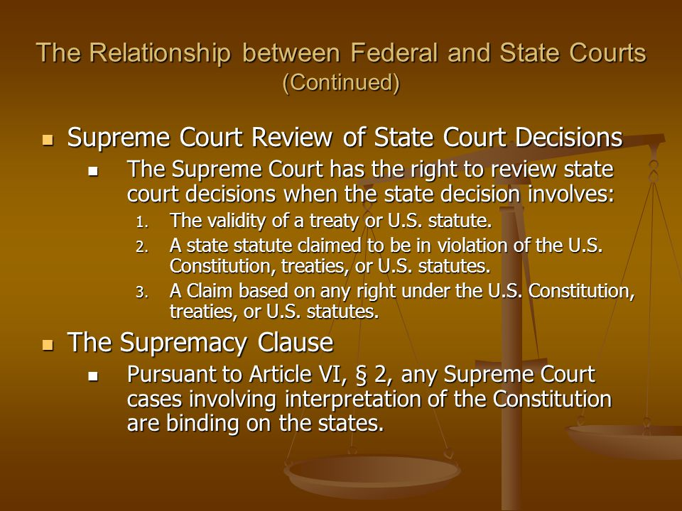 The Relationship between Federal and State Courts (Continued)
