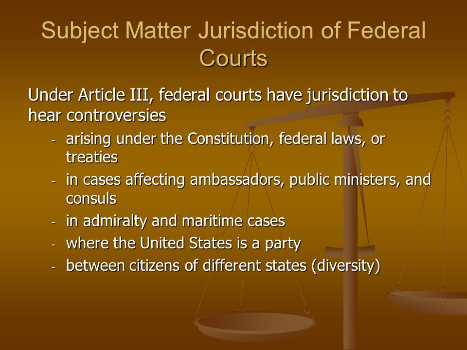 Subject Matter Jurisdiction of Federal Courts