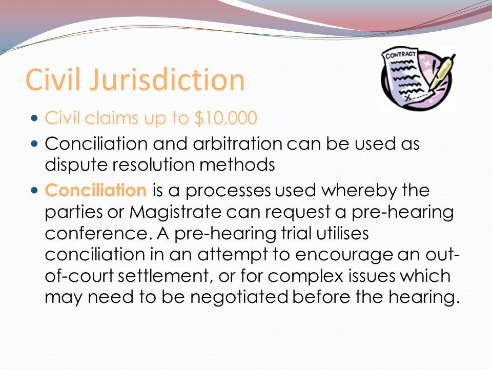 Civil Jurisdiction Civil claims up to $10,000