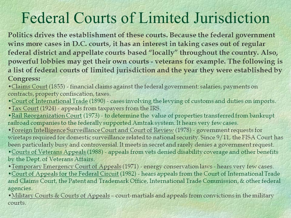 Federal Courts of Limited Jurisdiction