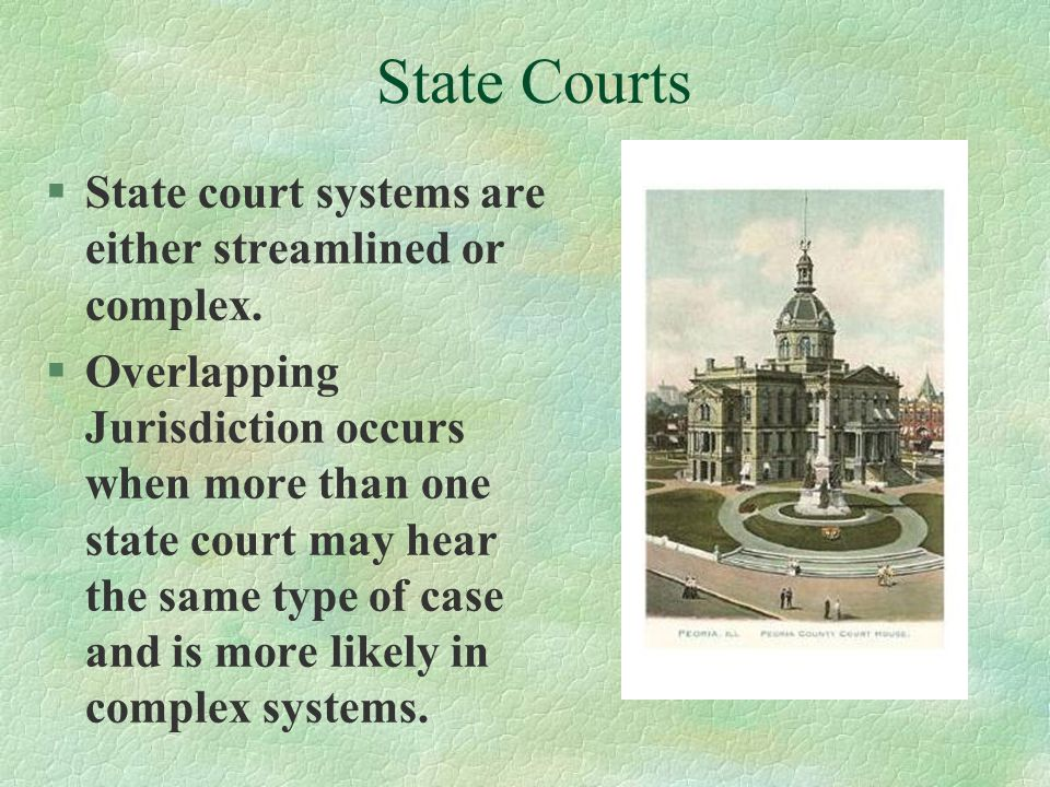 State Courts State court systems are either streamlined or complex.