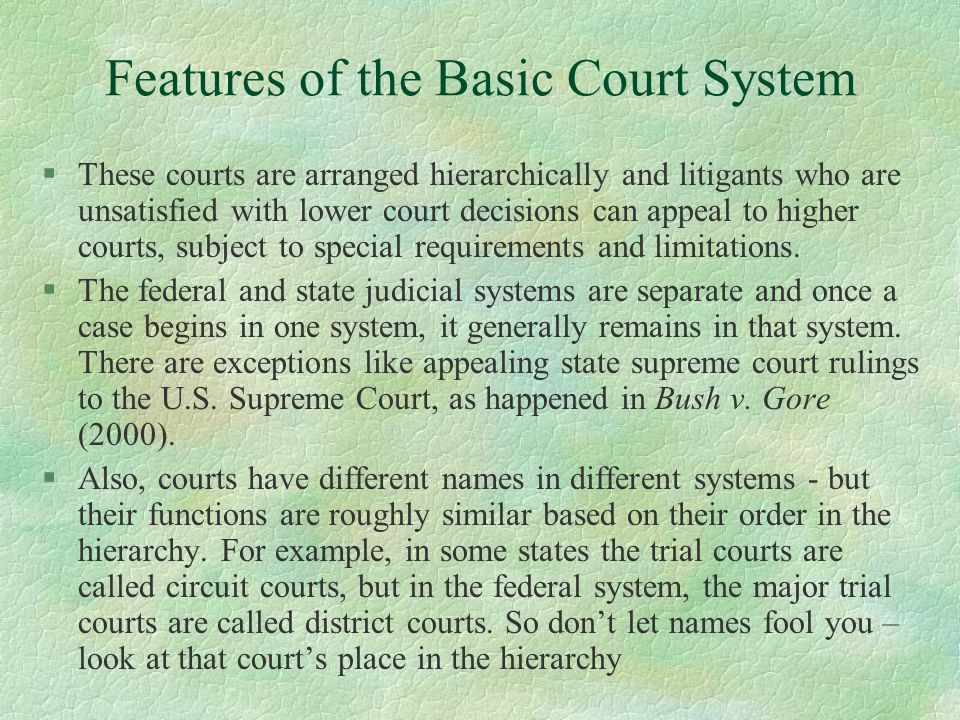 Features of the Basic Court System
