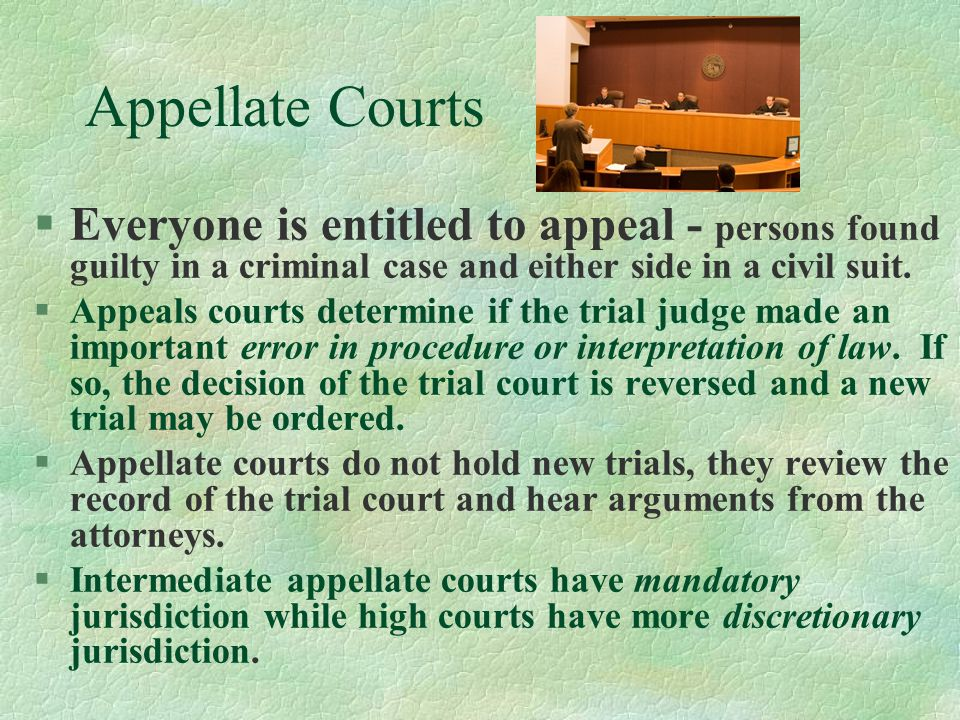 Appellate Courts Everyone is entitled to appeal - persons found guilty in a criminal case and either side in a civil suit.
