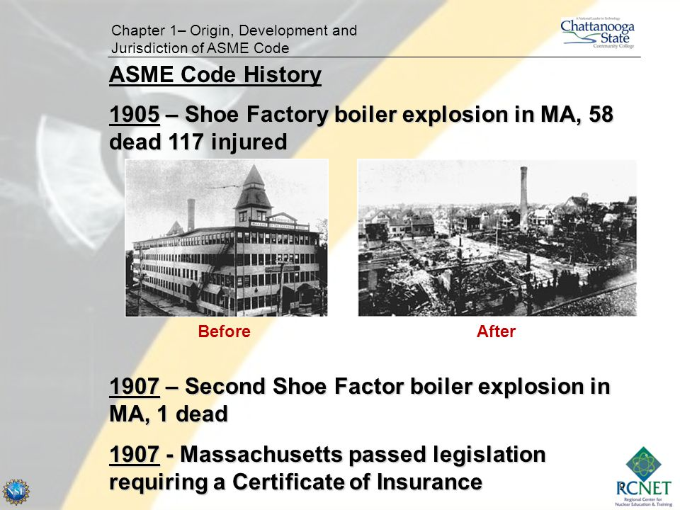 1905 – Shoe Factory boiler explosion in MA, 58 dead 117 injured
