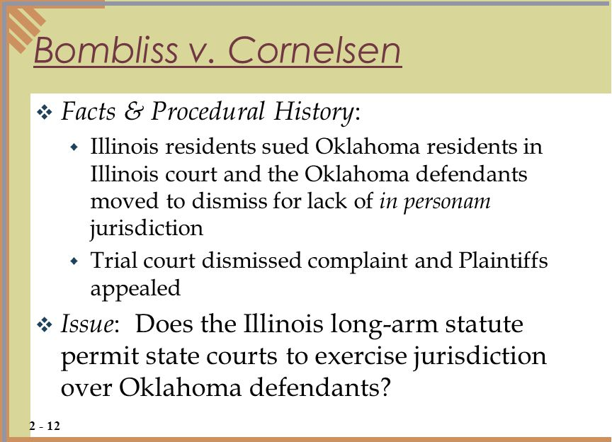 Bombliss v. Cornelsen Facts & Procedural History: