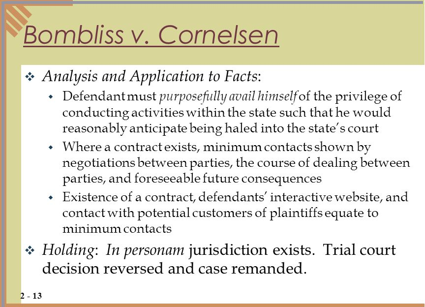 Bombliss v. Cornelsen Analysis and Application to Facts: