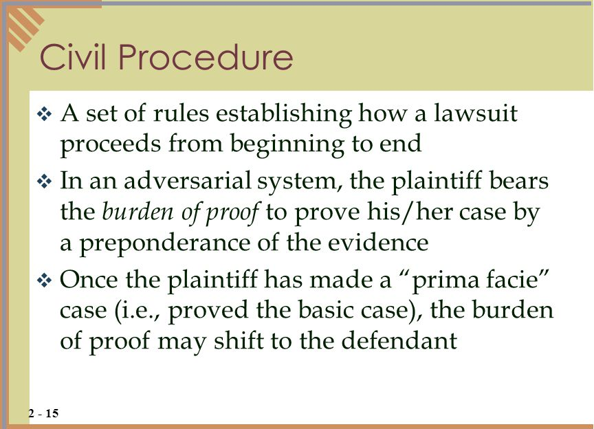 Civil Procedure A set of rules establishing how a lawsuit proceeds from beginning to end.