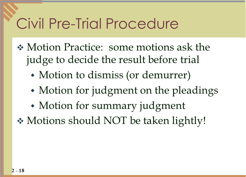 Civil Pre-Trial Procedure
