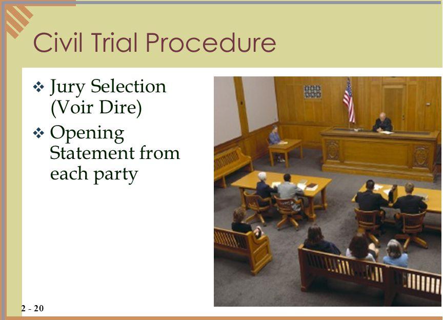 Civil Trial Procedure Jury Selection (Voir Dire)