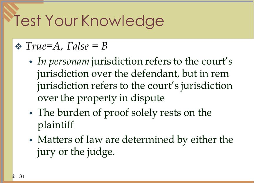 Test Your Knowledge True=A, False = B