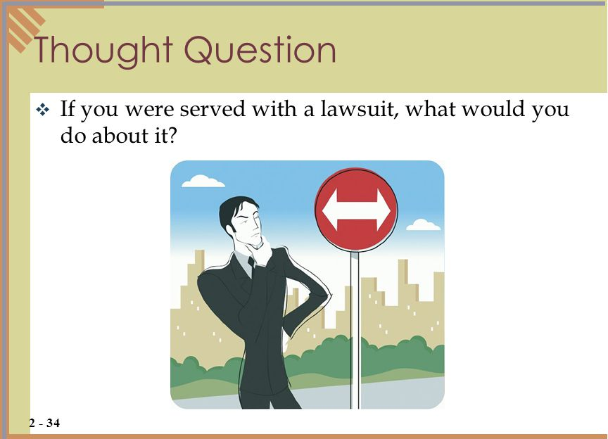 Thought Question If you were served with a lawsuit, what would you do about it.