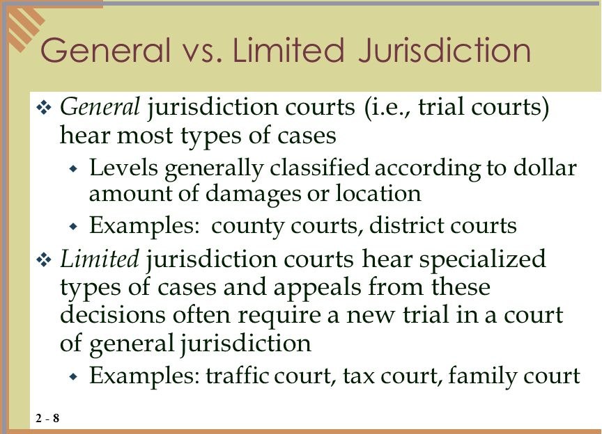 General vs. Limited Jurisdiction