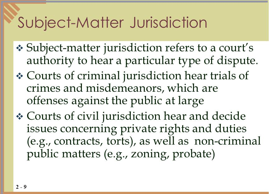 Subject-Matter Jurisdiction