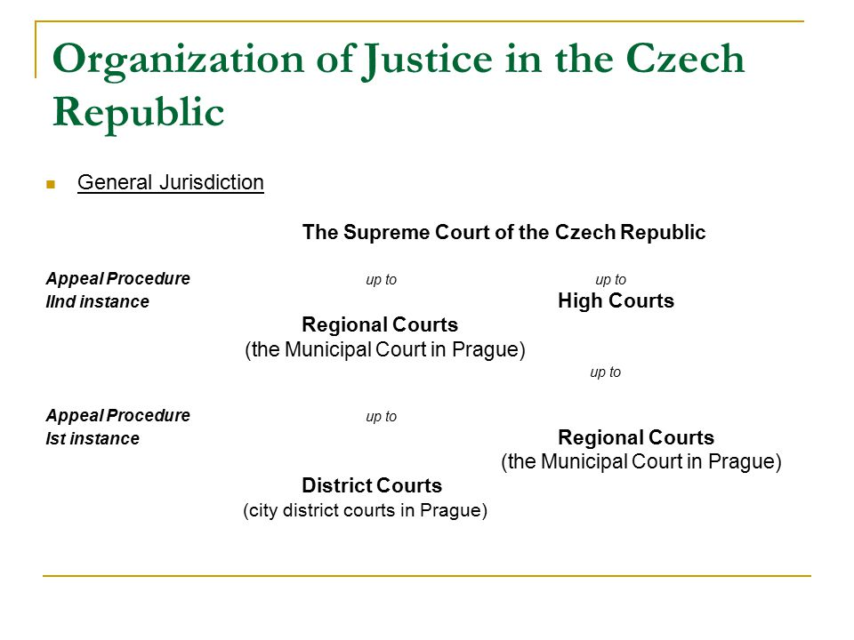 Organization of Justice in the Czech Republic