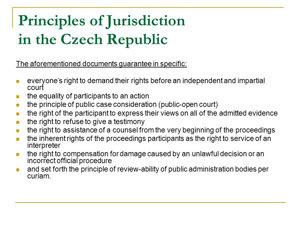 Principles of Jurisdiction in the Czech Republic
