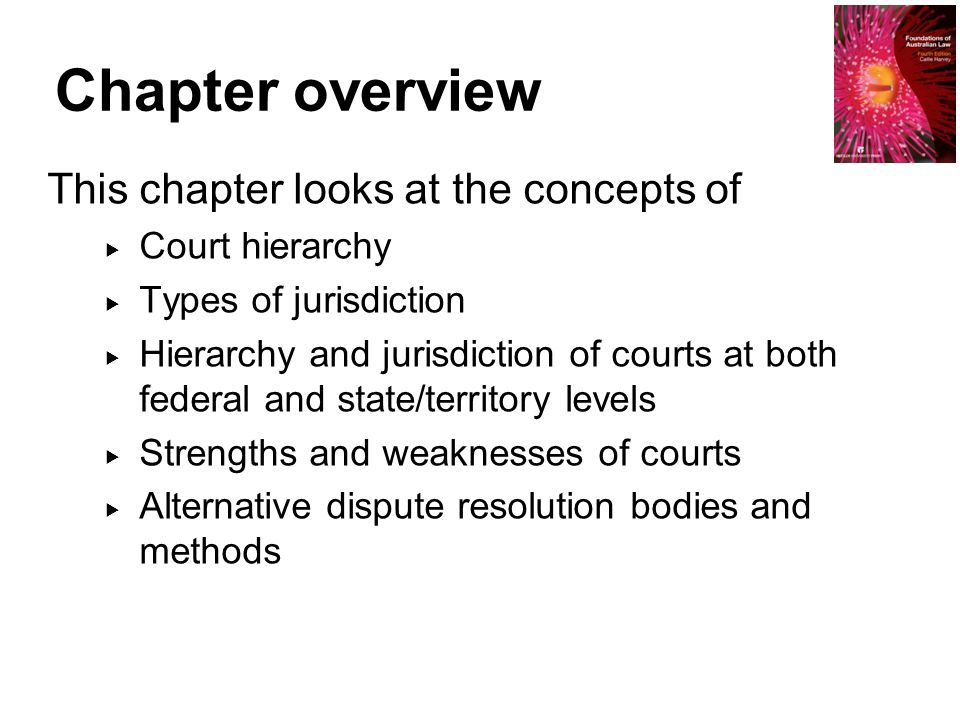 Chapter overview This chapter looks at the concepts of Court hierarchy