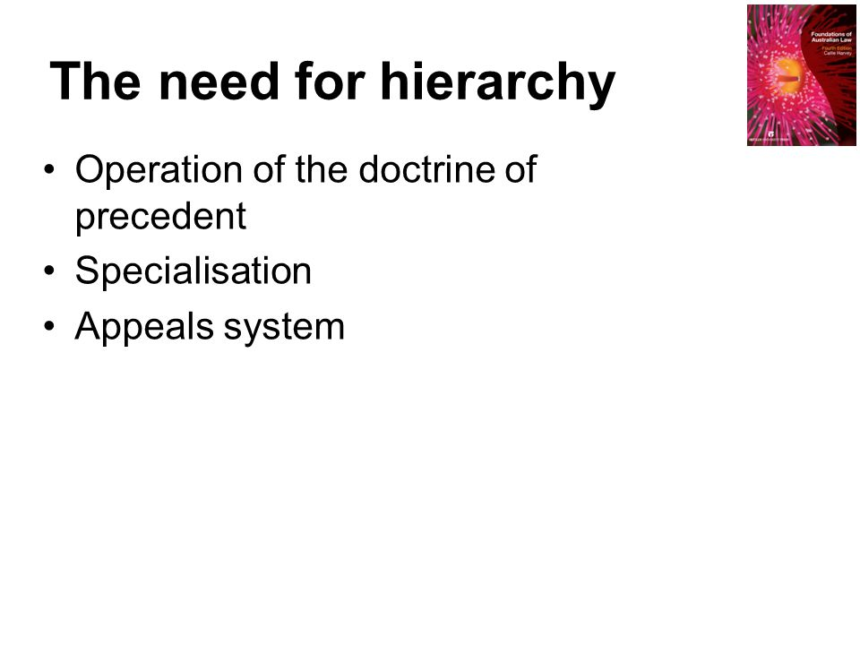 The need for hierarchy Operation of the doctrine of precedent