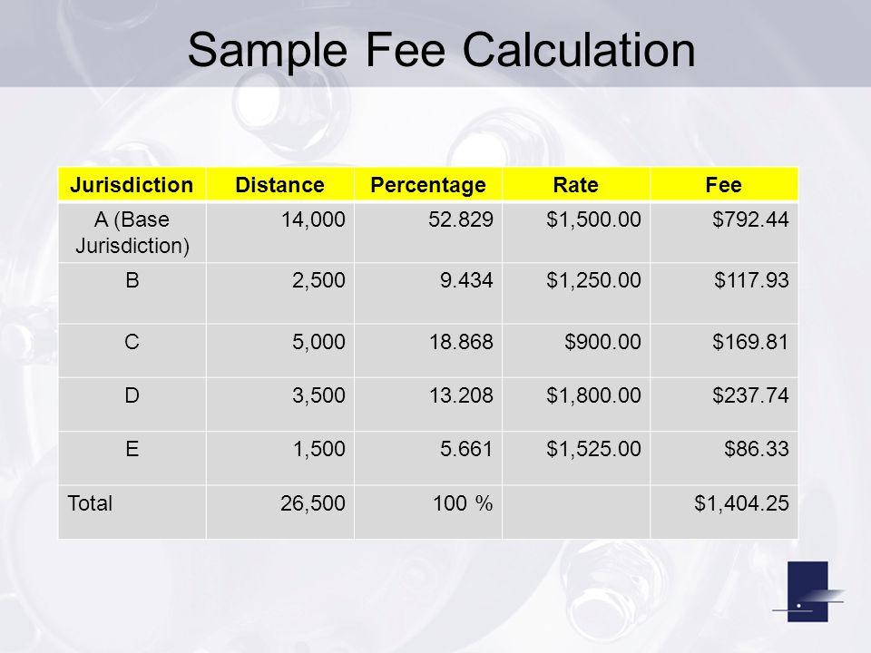 Sample Fee Calculation