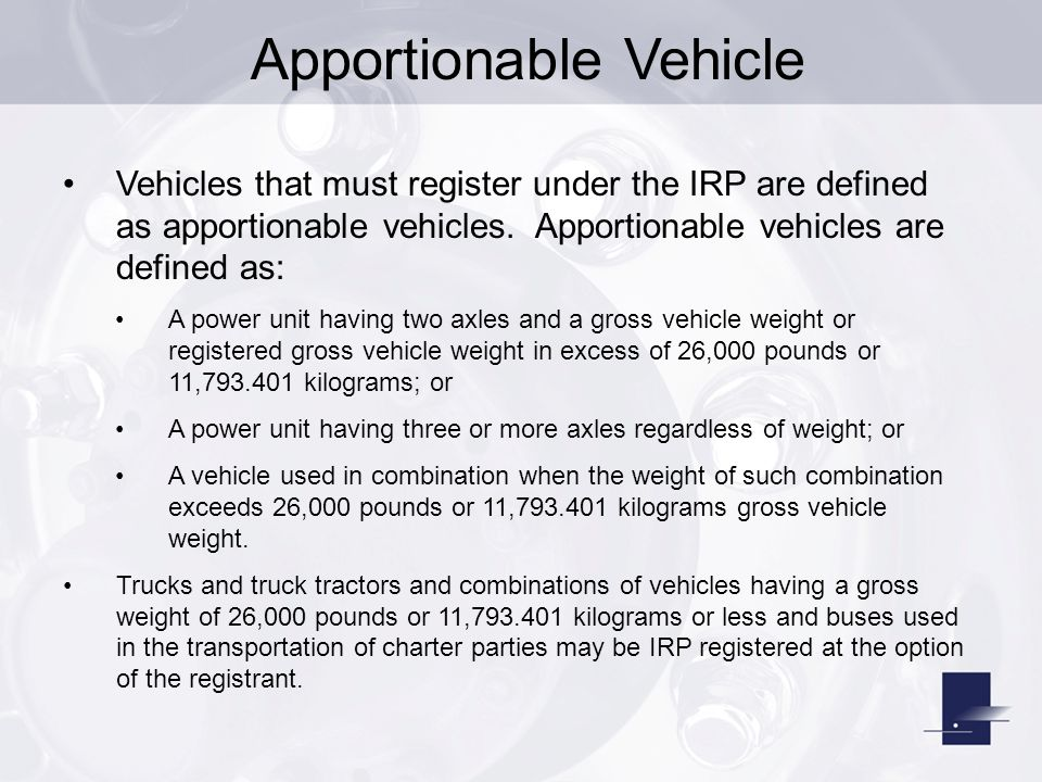 Apportionable Vehicle