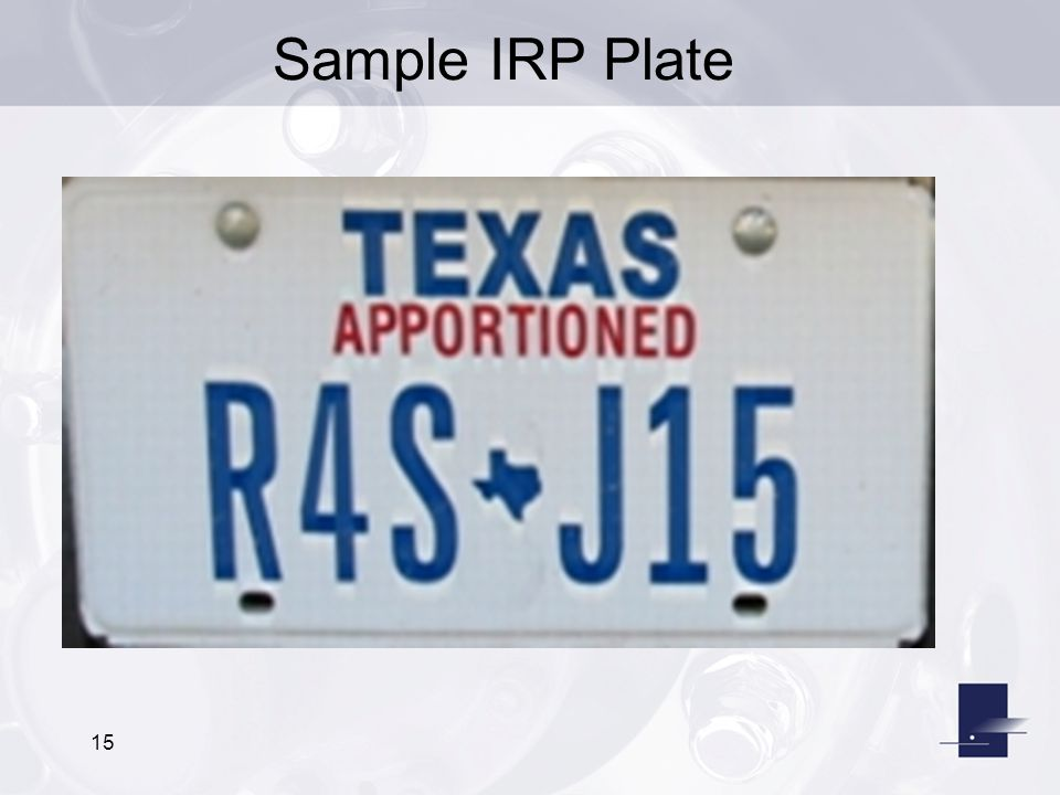 Sample IRP Plate