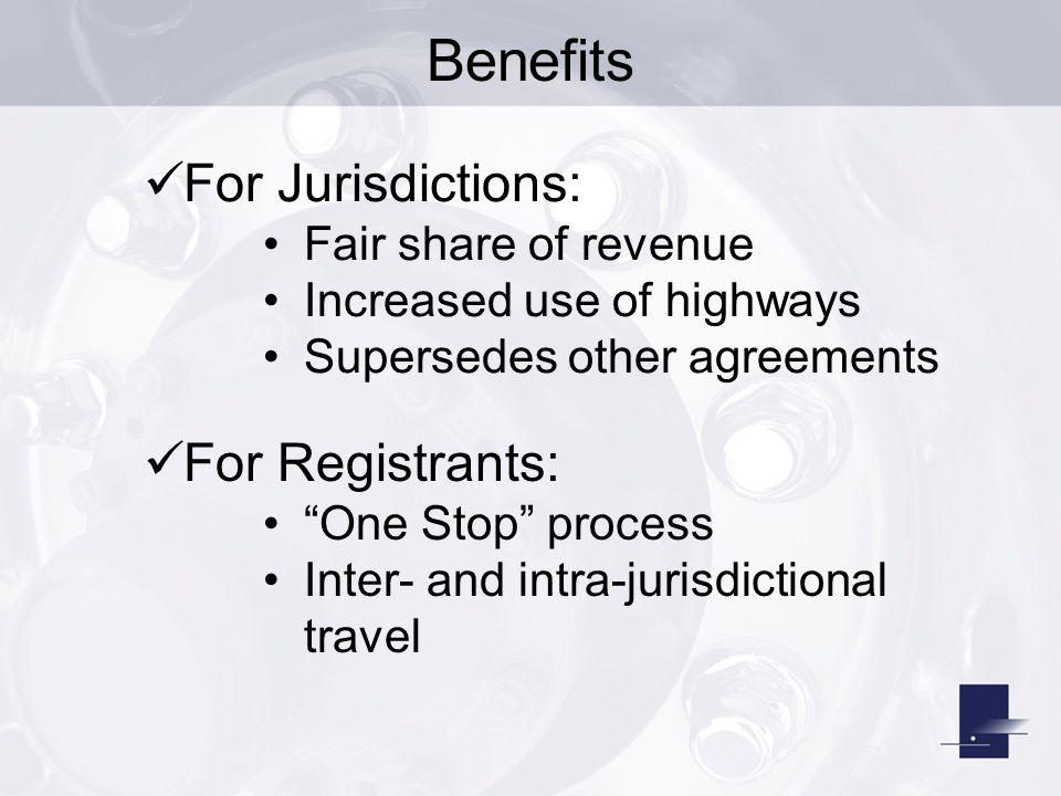 Benefits For Jurisdictions: For Registrants: Fair share of revenue