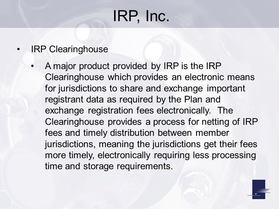 IRP, Inc. IRP Clearinghouse