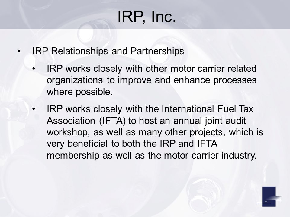 Motor carrier irp for Motor carrier service inc