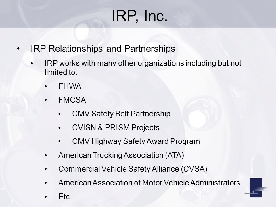IRP, Inc. IRP Relationships and Partnerships
