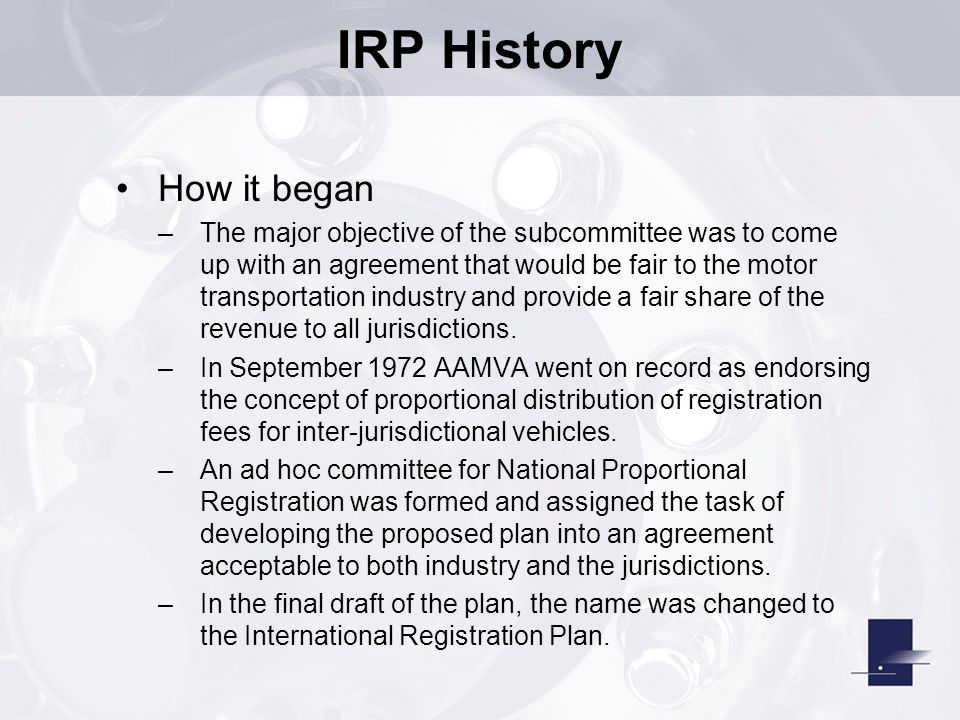 IRP History How it began