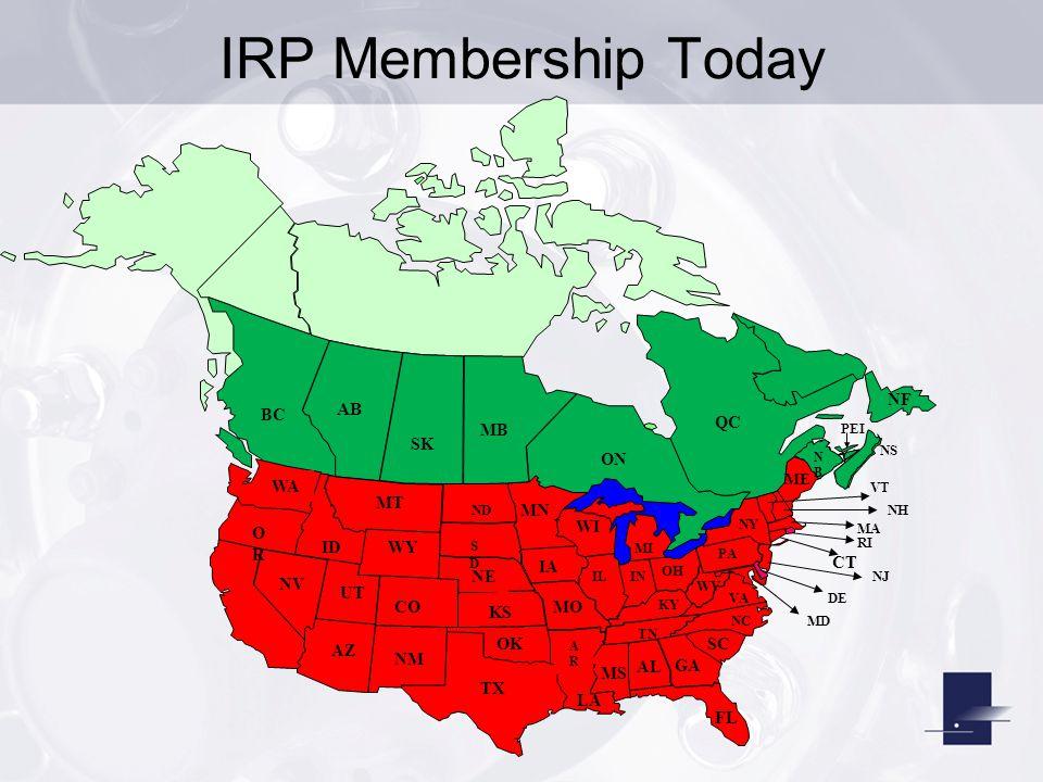 IRP Membership Today AB MT ID MN KS NV AZ GA NE WA BC NM MS TX CO FL