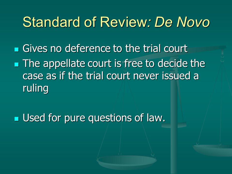Standard of Review: De Novo